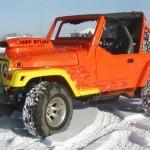 Laranja, amarelo e labaredas na pintura custom de Jeep