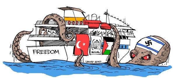 Cartum de Latuff - repúdio ataque Israel Frota da Liberdade