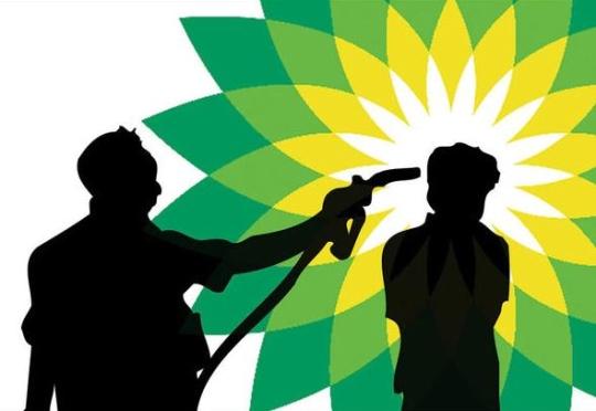 BP - logo e imagem arruinada por desastre ambiental
