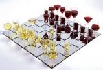 Jogo de xadrez bebível - vinho tinto e branco