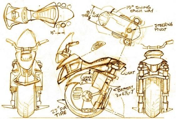Ryno - esboços para moto de apenas uma roda