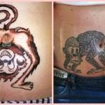 Tatuagens: desenhos de macacos no umbigo de barrigudos