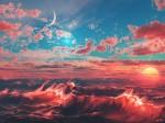 papel de parede - mar com ondas vermelhas