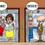Charge política: o sobe Dilma e desce Serra nas pesquisas eleitorais