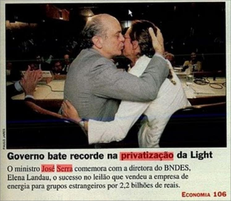 O beijo do judas - Serra privatiza a Light