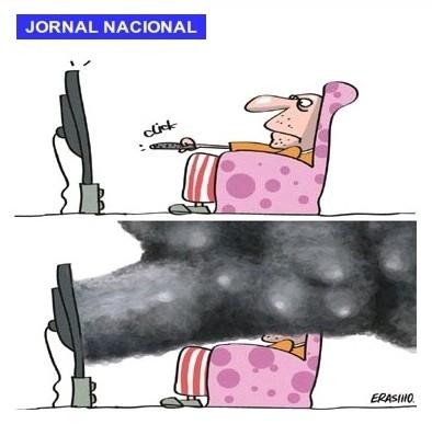 Charge - Sensacionalismo - Jornal Nacional - TV Globo