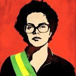 "Banner da Dilma Rousseff  ""guerrilheira"" com a faixa presidencial"