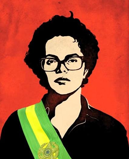 Dilma guerreira com a faixa presidencial