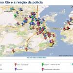 Mapa com os ataques na onda de violência no Rio de janeiro