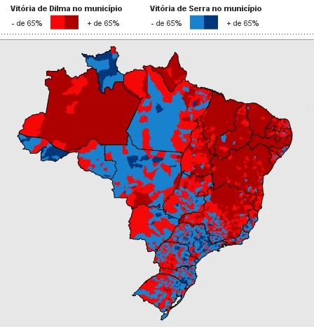 Mapa eleições - Brasil não é um país dividido