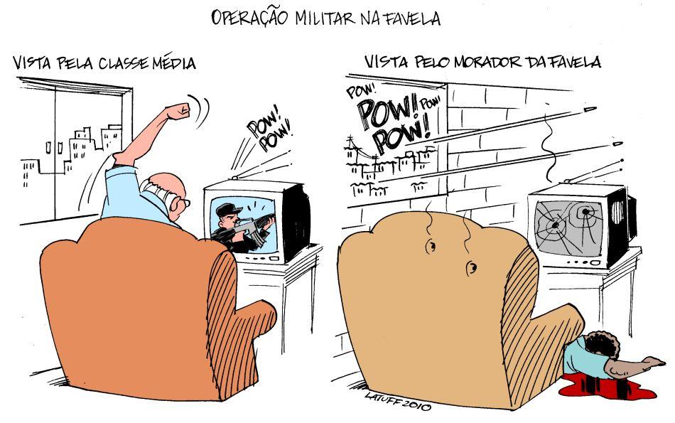 Operação militar na favela - charge de Carlos Latuff