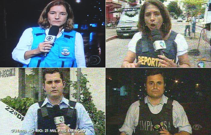 Repórteres de televisão com coletes à prova de balas