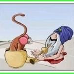 Tirinha: encantador de serpentes distraído e o macaco sacana