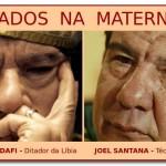 Técnico Joel Santana e ditador Kadhafi da Líbia: cara de um…