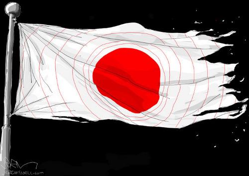 Charge - o terremoto na bandeira do Japão