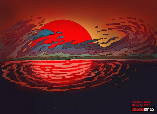 Onda gigante - tsunami - Japão - cartum