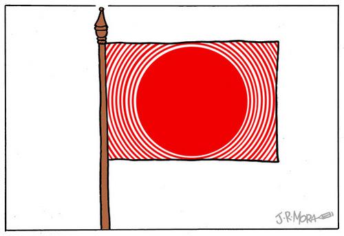 Charge - terremoto e tsunami na bandeira do Japão