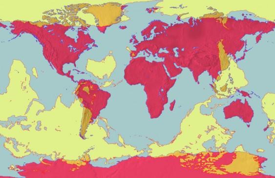 Antípodas - mapas sobrepostos