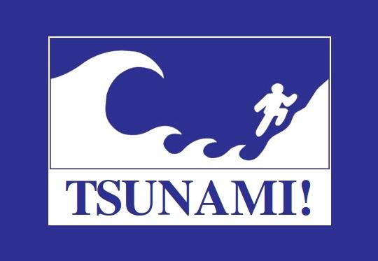 Tsunami no Japão - Placa de Alerta
