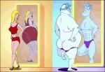 Homem e mulher na frente do espelho