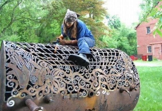 Esculturas de sucata de metal