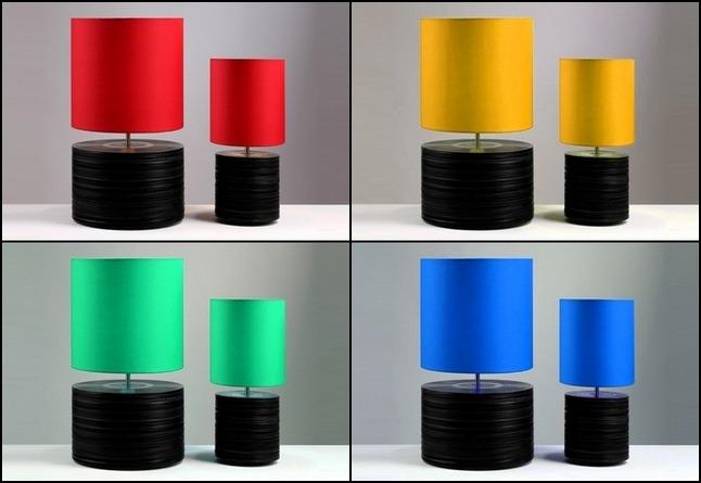 Reciclagem - luminárias coloridas com discos de vinil