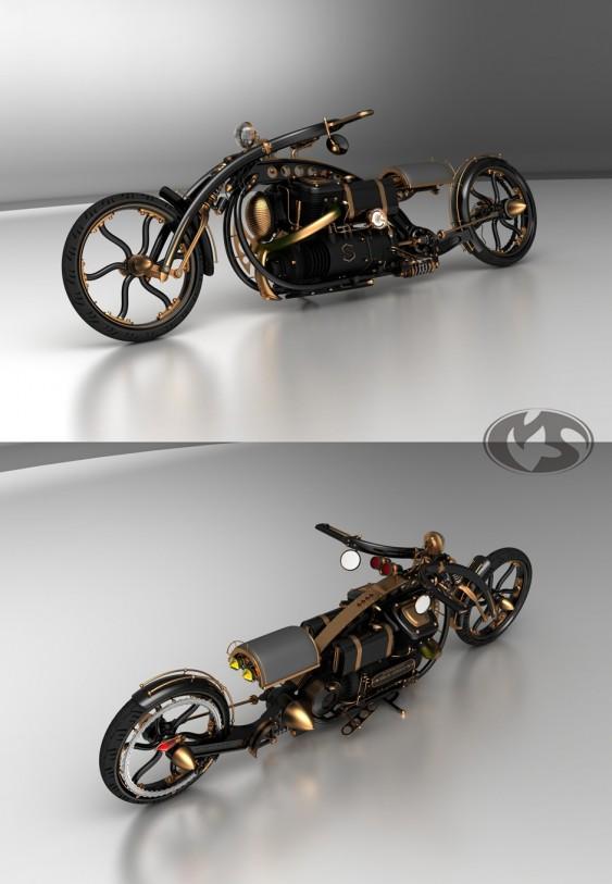 Motocicleta Steampunk Chopper