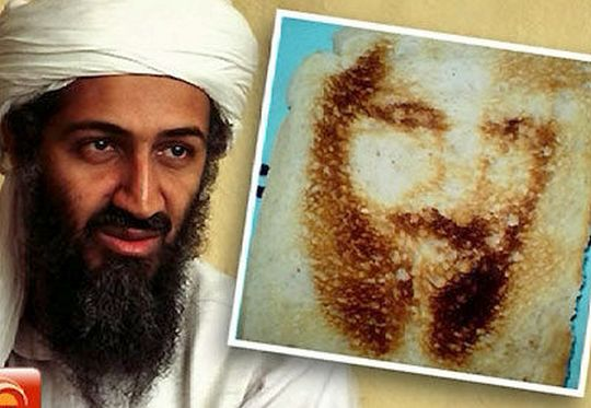 Fantasma - rosto de bin Laden na tostada