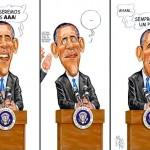 Charge: Obama fala sobre rebaixamento da nota da dívida dos EUA