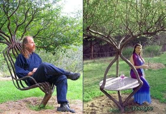Árvores em forma de cadeiras e mesas de jardim