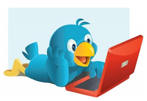 Logo Twitter - passarinho azul feliz