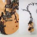 Arte: borboletas de discos de vinil com instrumentos musicais