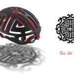 Design de capacete para ciclistas com forma de amuleto