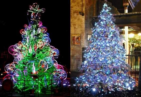 Árvores de Natal - CDs e rodas de bicicletas
