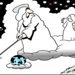 Piada: uma partida de golfe entre Moisés, Jesus e… o velhinho