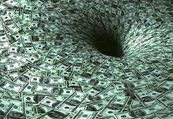 Dinheiro indo para o buraco