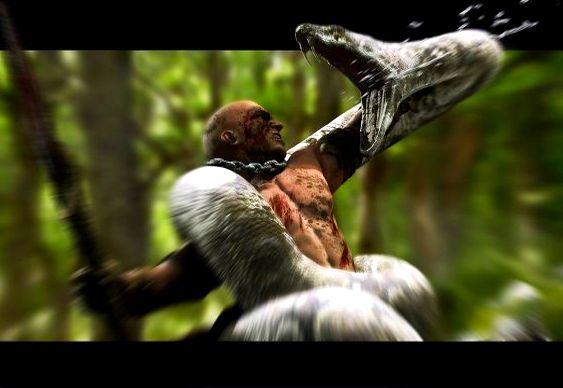 Luta de homem e serpente
