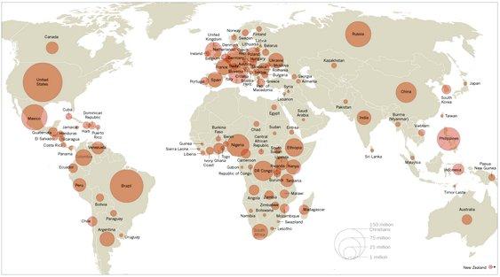 Mapa mundi das religiões cristãs