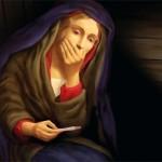 Cartaz com imagem polêmica do teste de gravidez da Virgem Maria