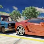 Piada animada do Fiat 147, Lamborghini e Porsche numa corrida