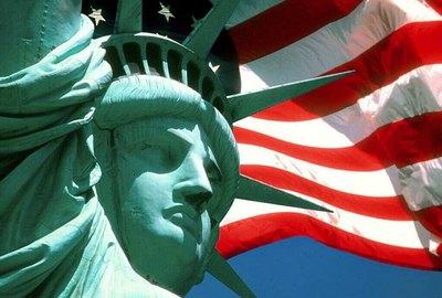 Bandeira EUA e Estátua da Liberdade