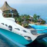 Cenas do paraíso: iate com a forma de ilha tropical flutuante