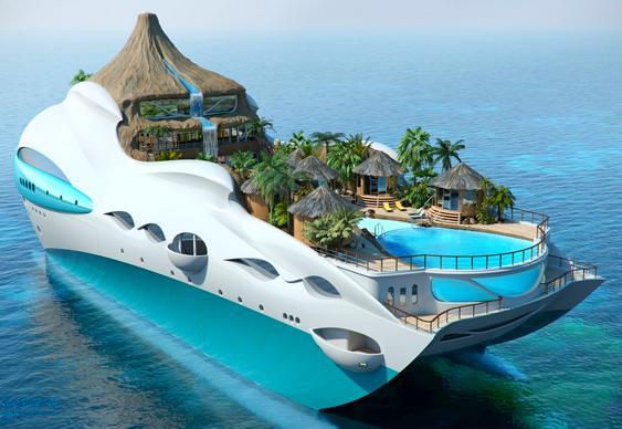 Barco em forma de ilha