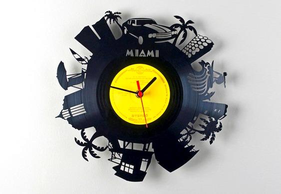 Disco vinil relógio