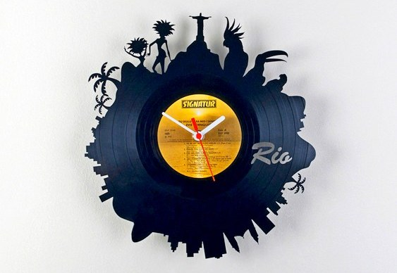 Vinil disco antigo - relógio
