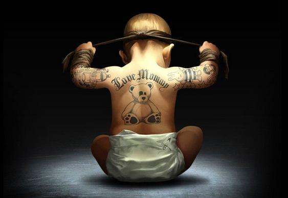 Baby tattoo - Bebê tatuado