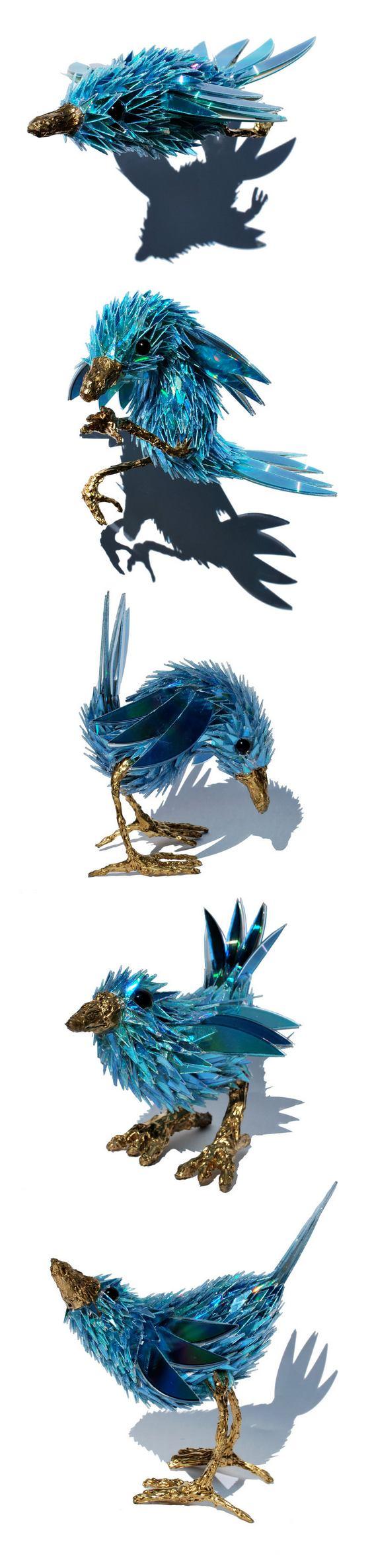 Reciclagem de CD - passarinhos azuis