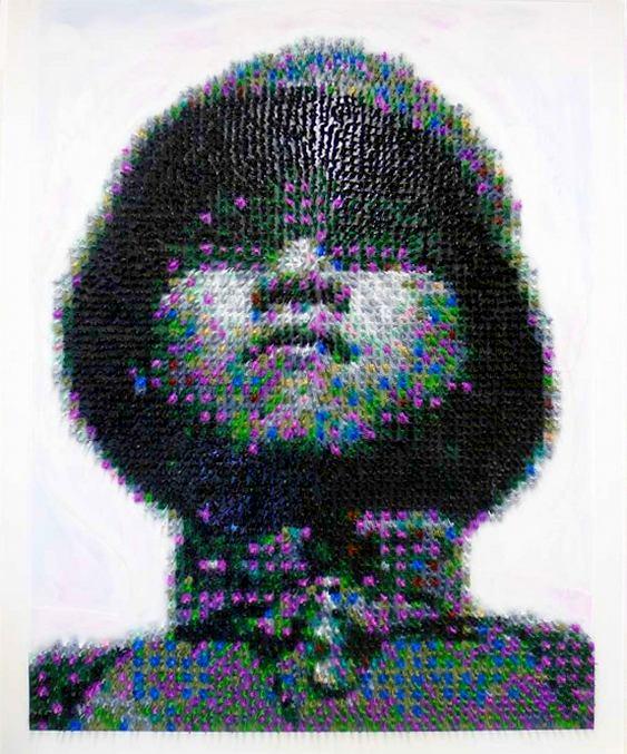 Quadro - rosto com soldados de plástico