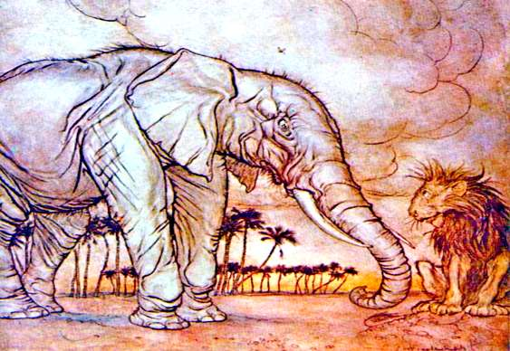 O elefante e o rei das relvas