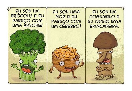 Humor - Brócolis, Noz e Cogumelo
